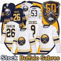 Buffalo Sabers 50th 저지 9 Jack Eichel 53 Jeff Skinner 26 Rasmus Dahlin 홈 멀리 빈 남성 금메달 하키 유니폼