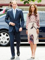 Kate Middleton principessa Skirt Animal Suit Stampa a maniche lunghe gonne Midi Set