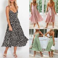 2020 floreale senza maniche del vestito da partito di tendenza di modo estate nuova delle donne Strappy Boho V Neck Beach Holiday allentato casuale Sundress