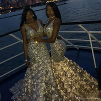 Bling Bling Mermaid Prom Dresses Sexy Deep V Neck Beads Crys...