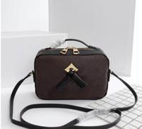 الكلاسيكية إلكتروني طباعة أكياس الكاميرا مع شرابة المرأة جلدية حقيقية حقيبة الكتف حقيبة مسطحة حقائب اليد سيدة محفظة crossbody