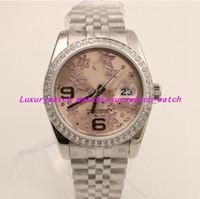 3 relojes de lujo estilo 116243 SS / 18K Flor de plata árabe Diamante Bisel 36MM Reloj automático para hombre / Papel