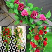 Artificiale Rose Flowers Rose Flower String 9 Heads 2.45M Simulazione Vines Wedding Decoration Festive Fashion