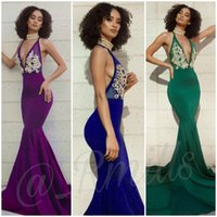 2019 Sexy Plunging V Neck Halter Mermaid Prom Dresses Sleeve...