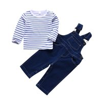 Baby Boys Girls Clothes Stripe Shirt Denim Suspender Pants T...