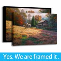 Decoración de la oficina pintura del arte paisajes Impresión de la lona del aceite de otoño cabina de pintura - listo para colgar - enmarcada