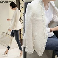 Mozuleva 2019 Марка Lady Winter Pearls кисточки шерстяное пальто куртки Женщины Vintage Casaco Femme Теплый Tweed Jacket Elegant Шинель