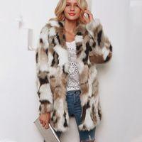 플러스 사이즈 패션 가짜 모피 코트 여성 겨울 롱 코트 2019 가을 따뜻한 소프트 레오파드 프린트 자켓 여성 외투 겉옷