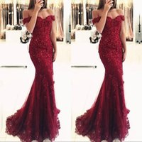 Burgundy Lace Mermaid Appliques Off Shoulder Prom Dresses Ve...