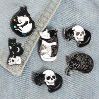 Mistik Cadı Kedi Emaye Pim Ay ve arkadaşları için Yıldız Kedi Rozet Broş Yaka iğneler Denim Jeans Gömlek Çanta Punk Takı Hediye
