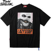 Oversize Hip Hop T Shirt Men 2020 Streetwear Harajuku Masked Man Print Tshirt Short Sleeve Cotton Casual T-Shirt Black Plus Size CX200703