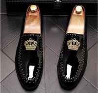 New Arrival Mężczyźni Uroczy Glitter Haft Crown Mieszkania Sukienka Dżentelmeczka Buty Męskie Ślubne Homecoming Evening Groom Prom Shoes.37-44