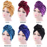 Las mujeres de la flor grande Beads musulmanes Cap Hijab terciopelo del oro elegante turbante indio Cap Jersey islámica Chemo cubierta de la cabeza del sombrero de la bufanda de las señoras