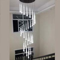 LED 현대 계단 샹들리에 천장 인테리어 조명 긴 계단 샹들리에가 일시 중단 된 천장 빛 조명기구 램프 매달려