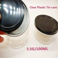 Lattine di latta Imballaggio alimentare Imballaggio di alluminio Piedi di stoccaggio Bottiglie di fiori Concentrato Contenitore 3,5 G Autoadesivi OEM Black Black 100 ml Barattolo di plastica INSTOCK