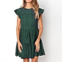 2020 Mode Sommer O-Neck Dress Robe Femme Vintage Frauen Rüschen Casual Kurzarm Casual Loch Spitze Kleider Party Minikleid
