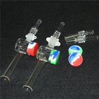Nargile Cam Nektar Kollektör Kitleri ile 10mm 14mm Kuvars İpuçları Keck Klip 5 ML Silikon Konteyner Reclaimer Nector Kit Sigara İçme