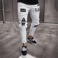 White & Blue Skinny Jeans Men Fashion Solid Black Male Denim...