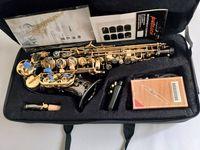 Profesyonel YANAGISAWA S-991 Bb Soprano kavisli Sax aletleri Süper Ağızlık Siyah Nikel Altın