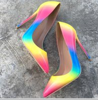 Новый стиль Rainbow Fine каблуки на высоком каблуке Обувь на высоком каблуке Обувь для женщин Одиночные туфли на неглубокий рот 8 см 12 см 10см Большой размер 44 Свадебная невеста