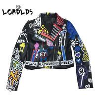 LORDLDS 2019 Deri Ceket Kadınlar Graffiti Renkli Baskı Biker Ceket ve Coats PUNK Streetwear Bayanlar elbise