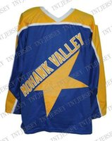 Custom Mohawk Valley Star Retro Hockey Jersey New Blue Perso...
