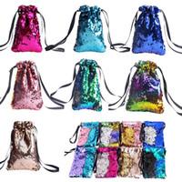 8styles Sequin Porte-monnaie à double couleur réversible filles téléphone écouteurs Sac enfants Pocket Change Party Cadeaux cordon de serrage Sacs FFA1902