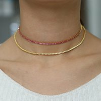 Gold filled thin tennis cz choker necklace for lady multi la...