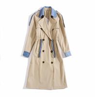 Европейская и американская женская одежда 2019 зима новый стиль контрастный цвет с длинным рукавом отворота с двубортными модами