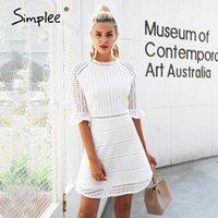 Повседневные платья простые элегантные выдолбленные кружевные платья женщины половина рукава летний стиль миди белый 2021 весна короткими Vestidos