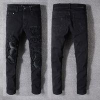 Moda Yeni Mens stilist Jeans Erkekler Kadınlar Slim Fit Skinny Jeans Açık Biker Motosiklet Erkek Kot Siyah Kot Pantolon Ripped