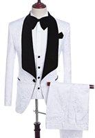 Brand New Groom Tuxedos Pattern Groomsmen Shawl Black Lapel Best Man Suit Wedding Men Suits Bridegroom ( Jacket+Pants+Vest+Tie ) A153