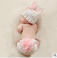 Uncinetto manuale Fotografia di lana per bambini Servire Figlio biologico Cappello da coniglio in tessuto per bambini Centesimo anniversario Anniversario alla fotografia Prop