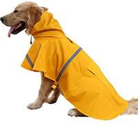 Большие собаки дождевик Регулируемая Proof Pet воды Одежда Легкий дождь куртка Пончо толстовки с Strip Reflective