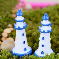 الراتنج صغيرة تحدها الزرقاء منارة بيضاء صغيرة حديقة 2PCS جنية موس الحرف الديكور تررم الديكور بونساي المنزل