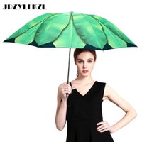 Hoja de plátano creativo Paraguas Mujer Pequeño Fresco Tres veces Doble Paraguas UV Sombrilla Protector solar Negro Paraguas de plástico