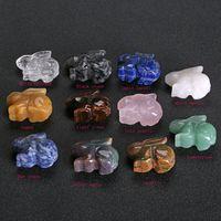 La scultura di cristallo naturale Coniglio forma la pietra che guarisce l'ornamento di pietra del quarzo Arti variopinte Mestieri creativi Quartz di cristallo squisito Home Decor