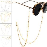 Gözlük Zinciri Güneş Okuma Boncuklu Gözlük Zinciri Gözlük Halat BOYUNLUKLAR Rose Gold Gümüş Cam Kordon Boyun askısı Güneş tuzak