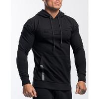 Automne Casual Hommes Muscle solide Hoodie doux culturisme Gym Workout Vêtements à manches longues Sweat respirante solides avec les lettres imprimées