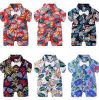 2020 enfants vêtements garçons bousillons nœud papillon floral imprimé enfant saut enfant bébé pyjamas vêtements hawaïen style CZ526