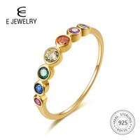 E стерлингового серебра 925 пробы Радуга драгоценные камни кольцо для женщин 14K позолоченные серебряные ювелирные кольца цвет кубического циркония обручальные кольца
