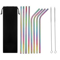 Colorful Drinking Straws Set Rainbow Stainless Steel Bent An...