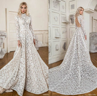 Lace Langarm Brautkleider Applikationen A Line High Neck Hohlkreuz Boho Brautkleid Sweep Zug Brautkleider Robes De Mariée