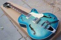 Caz Yarı içi boş Çift F Delik Açık Mavi Elektro Gitar HH Transfer, Bigby Köprüsü ve Chrome Donanımları, Özel Fret, Gülağacı Klavye.
