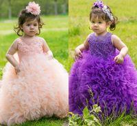 2020 новый фиолетовый розовый малыш девушки театрализованное платье Sheer круглый вырез кружева аппликации бальное платье Принцесса милые девочки цветочницы платья