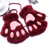 Heiße reizende Frauen Frauen Handschuhe Fäustling Frauen Cat Claw Paw Fäustling Plüsch-Handschuh Kostüm Netter Winter warm halbe Finger-Handschuhe