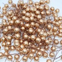 50 adet 12mm Mini İnci Plastik Stamen Yapay Çiçek Kiraz Meyve Stamenler Düğün Noel Çelenkler DIY Hediye Kutusu Dekorasyon
