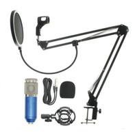 Profesyonel Kondenser Ses 3.5mm Kablolu BM800 Stüdyo Mikrofon Vokal Kayıt KTV Karaoke Mikrofon Mic W / Bilgisayar Için Standı