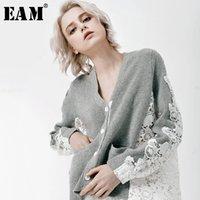 [EAM] 2019 Yeni Sonbahar Kış Moda Tide Gri Patchwork Dantel Uzun Kollu Tek Breasted V yaka Kadın Gömlek Bluz S626