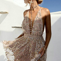 ZOGAA Abiti da festa Abiti sexy Donna Backless Halter Paillettes Mini Dress Party Spaghetti Strap Nappa Estate Clubwear Abiti